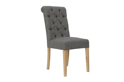 Manor Button Dining Chair - Scroll Back Dark Grey