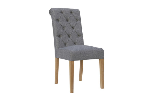 Manor Button Dining Chair - Scroll Back Light Grey