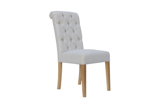 Manor Button Dining Chair - Scroll Back Natural
