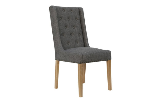 Manor Button Dining Chair - Studded Dark Grey