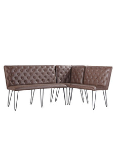 Lucca Studded Corner Dining Bench - Brown