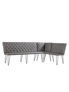Lucca Studded Corner Dining Bench - Grey