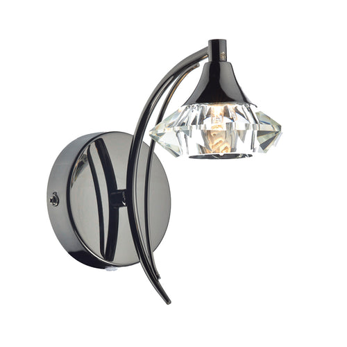 1 Light Wall Light - Black Chrome