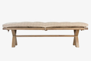 Hope Dining Bench & Cushion -  Check Natural