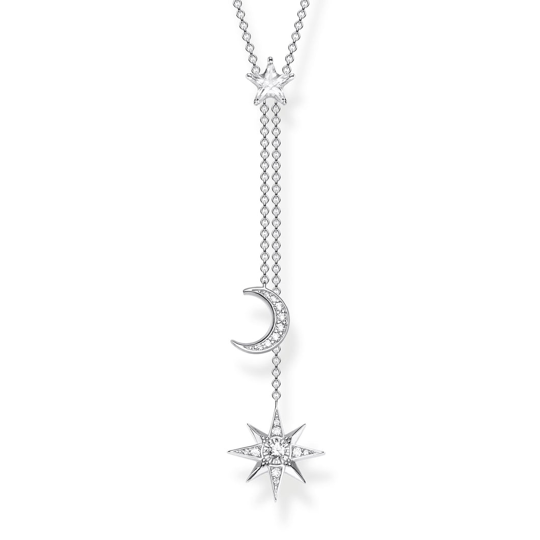 Thomas Sabo Moon and Star Y Necklace, Sterling Silver