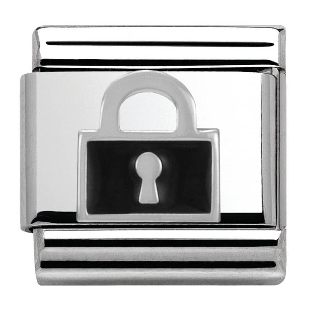 Nomination Black Enamel Lock Charm