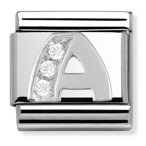 Nomination Silver Initial A Charm With Cubic Zirconia
