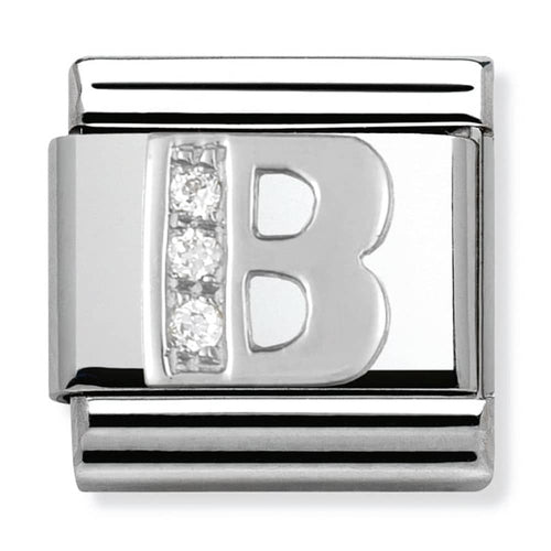 Nomination Silver Initial B Charm With Cubic Zirconia