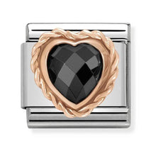 Load image into Gallery viewer, Nomination Rose Gold Faceted Black Heart Charm