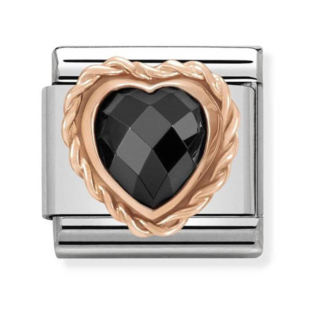 Nomination Rose Gold Faceted Black Heart Charm