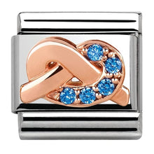 Load image into Gallery viewer, Nomination Rose Gold Light Blue Knot Charm