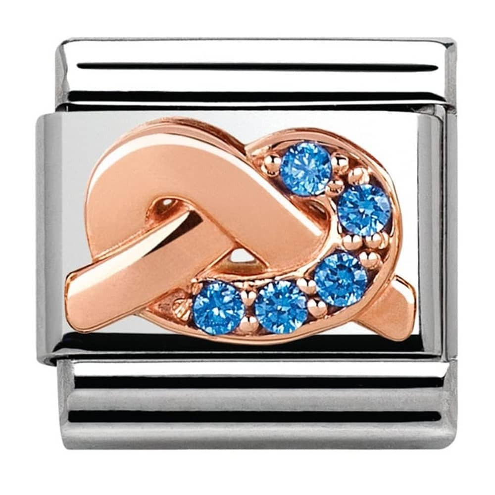 Nomination Rose Gold Light Blue Knot Charm
