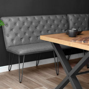 Lucca Studded Dining Bench 140 - Grey
