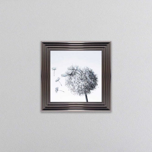 Dandilion Small Right Facing Picture In Silver Metallic Frame