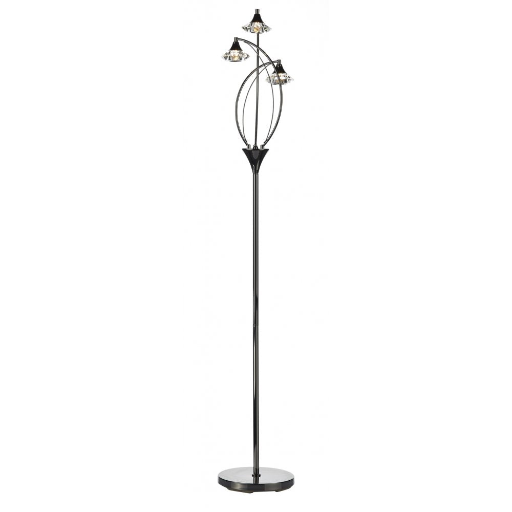 3 Light Floor Lamp - Black Chrome