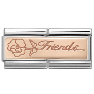 Nomination Rose Gold Double Link Floral Friends Charm