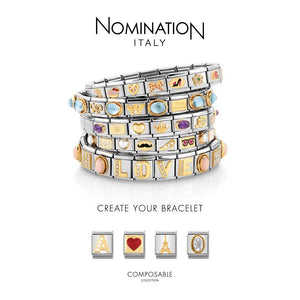 Nomination Yellow Gold Oval Red Opal Charm