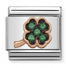 Load image into Gallery viewer, Nomination Rose Gold Clover With Green Cubic Zirconia