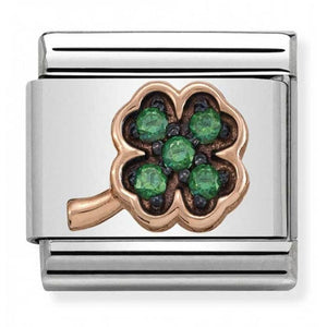 Nomination Rose Gold Clover With Green Cubic Zirconia