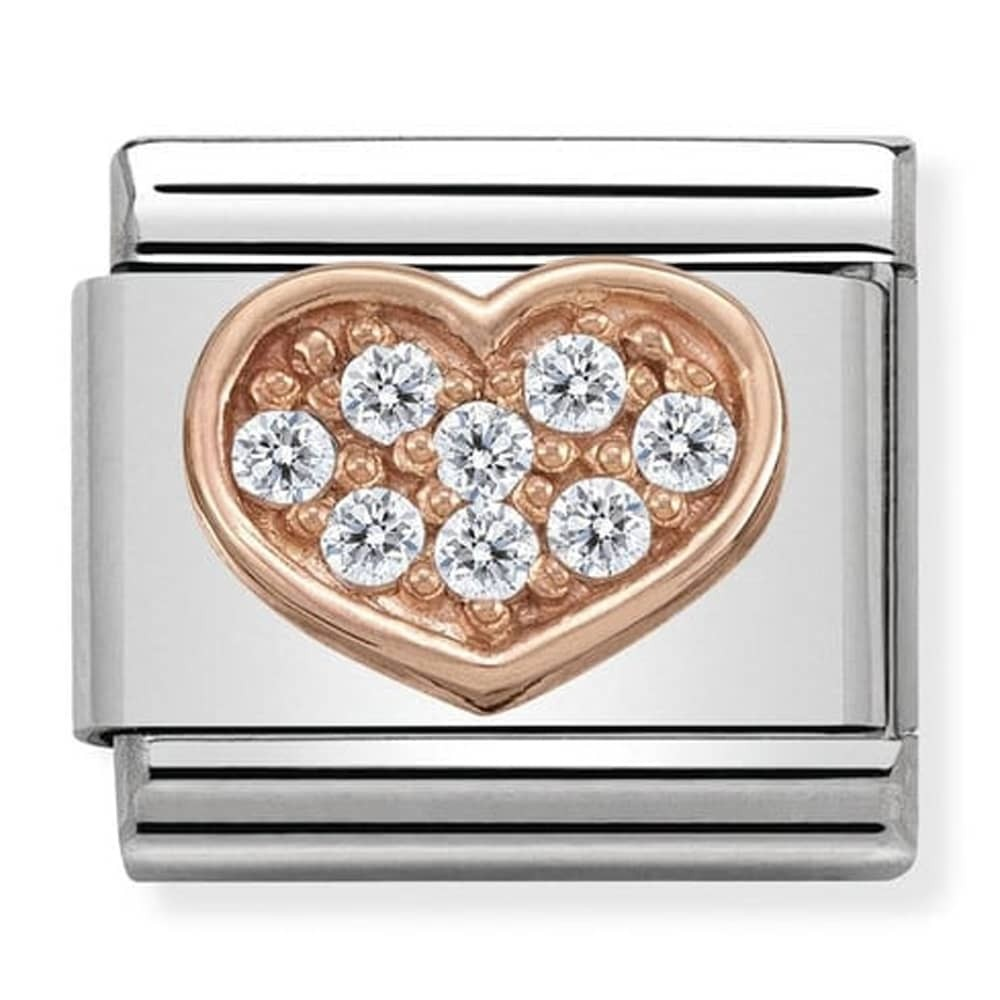 Nomination Rose Gold Heart Charm with Clear Cubic Zirconia