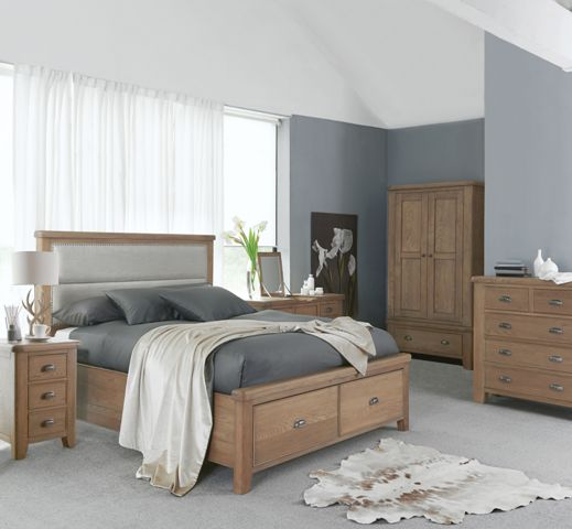 Hope Double Bed With Fabric Headboard & Drawers