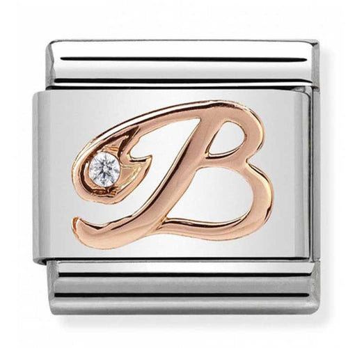 Nomination Rose Gold Initial B Charm with Cubic Zirconia