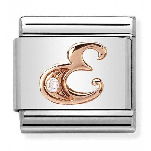 Nomination Rose Gold Initial E Charm with Cubic Zirconia