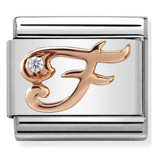 Load image into Gallery viewer, Nomination Rose Gold Initial F Charm with Cubic Zirconia