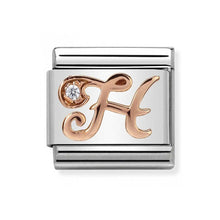 Load image into Gallery viewer, Nomination Rose Gold Initial H Charm with Cubic Zirconia
