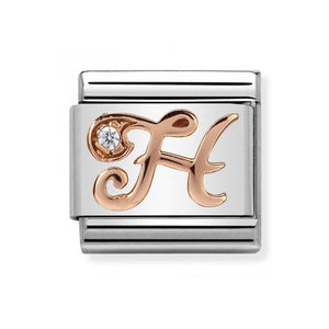 Nomination Rose Gold Initial H Charm with Cubic Zirconia