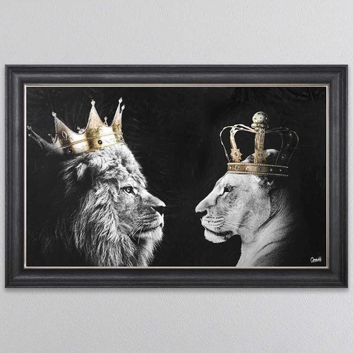 Lion and Lioness Picture in Dark Grey Frame