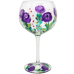 Purple Rose Hand Painted Gin Glass by Lynsey Johnstone