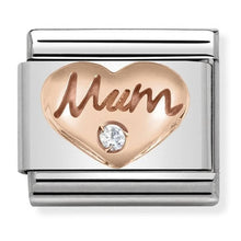 Load image into Gallery viewer, Nomination Rose Gold Mum Charm with Cubic Zirconia
