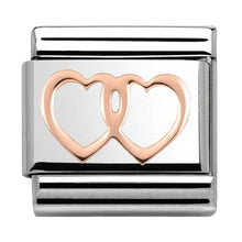 Load image into Gallery viewer, Nomination Rose Gold Open Double Hearts Charm