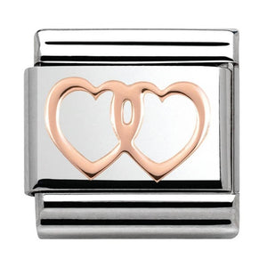 Nomination Rose Gold Open Double Hearts Charm