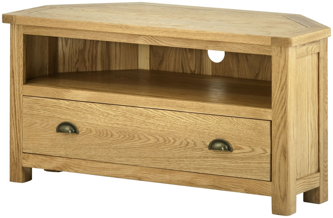Cottage Corner TV Unit Oak - Tylers Department Store