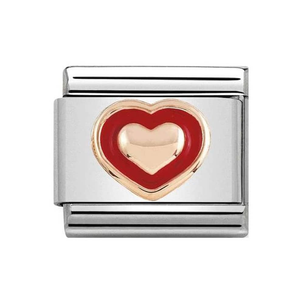 Nomination Rose Gold Heart with Red Enamel Boarder