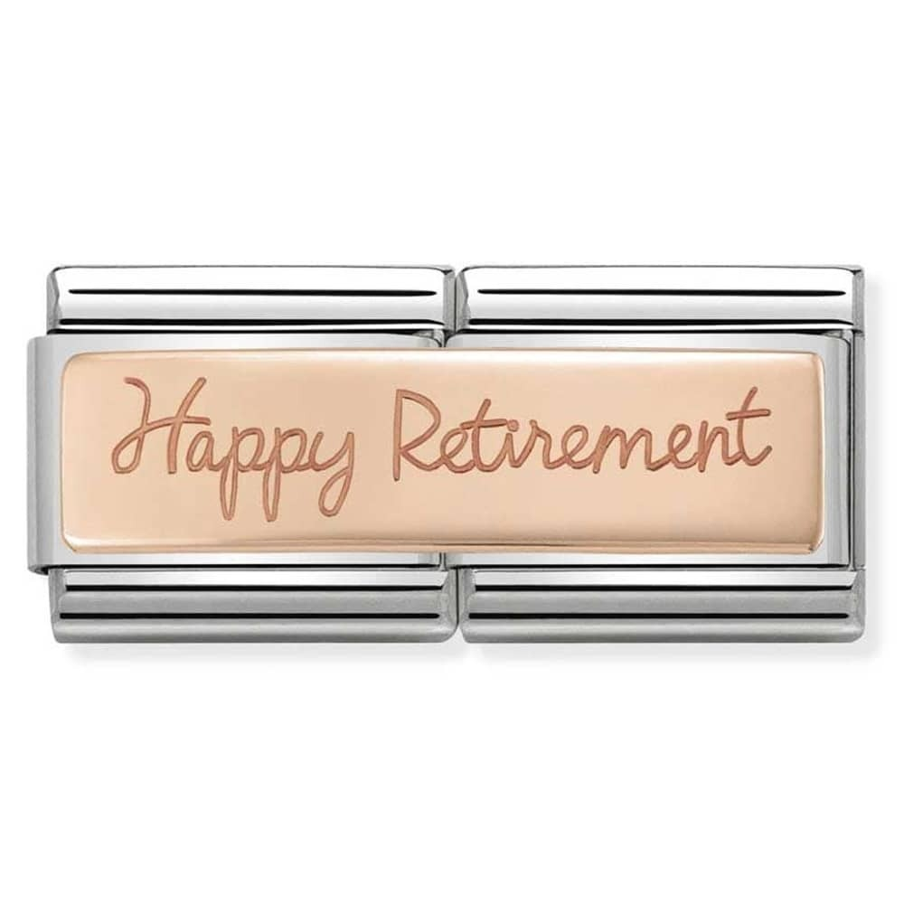 Nomination Rose Gold Double Link Happy Retirement Charm