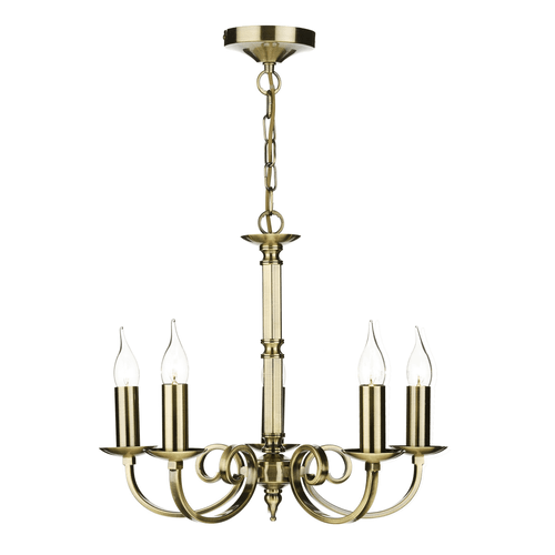 5LT Pendant Ceiling Light - Antique Brass