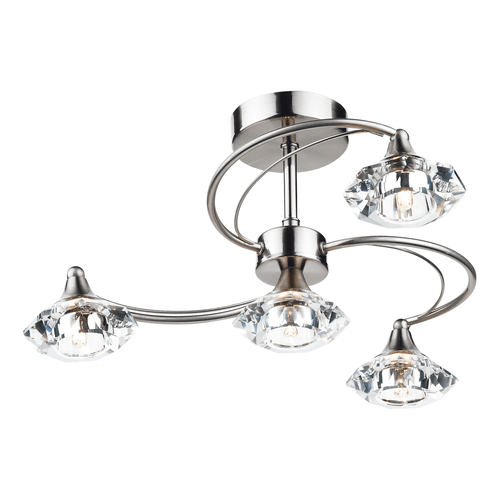 4 Light Pendant Ceiling Light - Satin Chrome