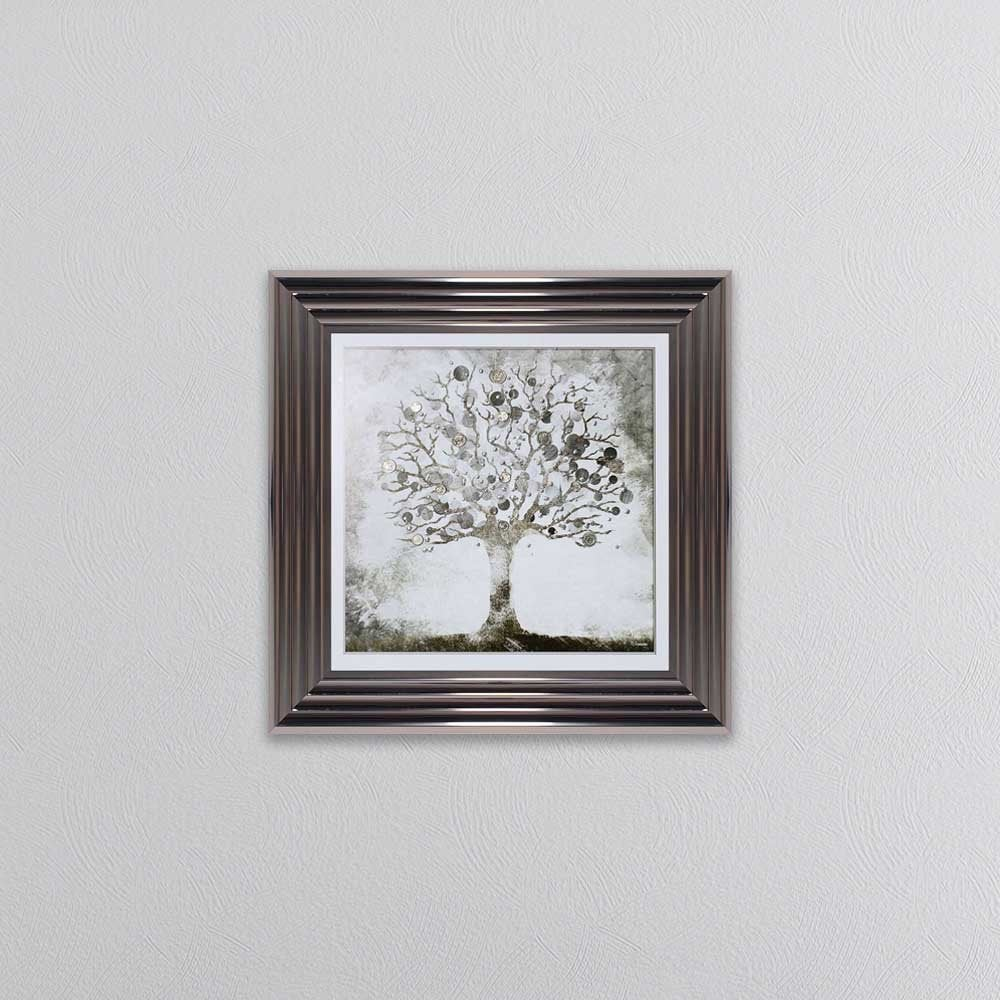 Money Tree Small Picture In a silver Metallic Frame
