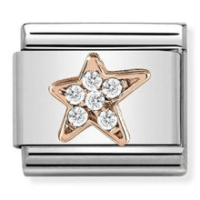 Load image into Gallery viewer, Nomination Rose Gold Asymmetric Star Charm with Cubic Zirconia