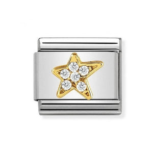 Nomination Yellow Gold Star Charm With Cubic Zirconia