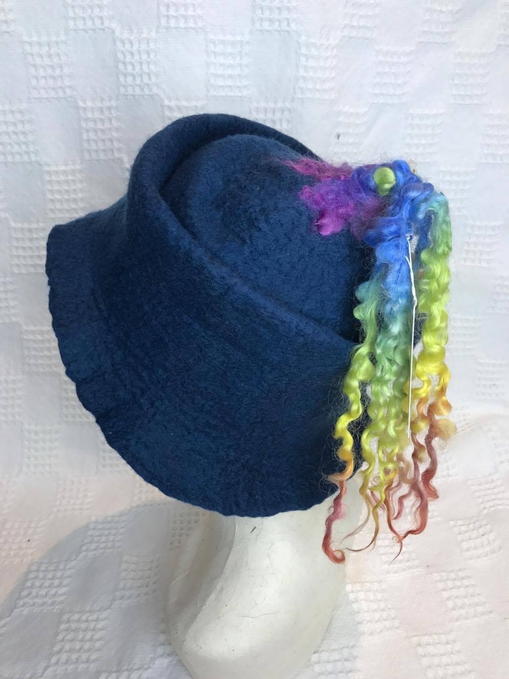 Hat. by Diva Design. Blue / Rainbow wet felted. Handmade.(39RAINHAT)