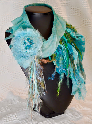 Scarf. Handmade wet felted.By Diva design.(one off) Teal/blue/aqua (39SCBCW)