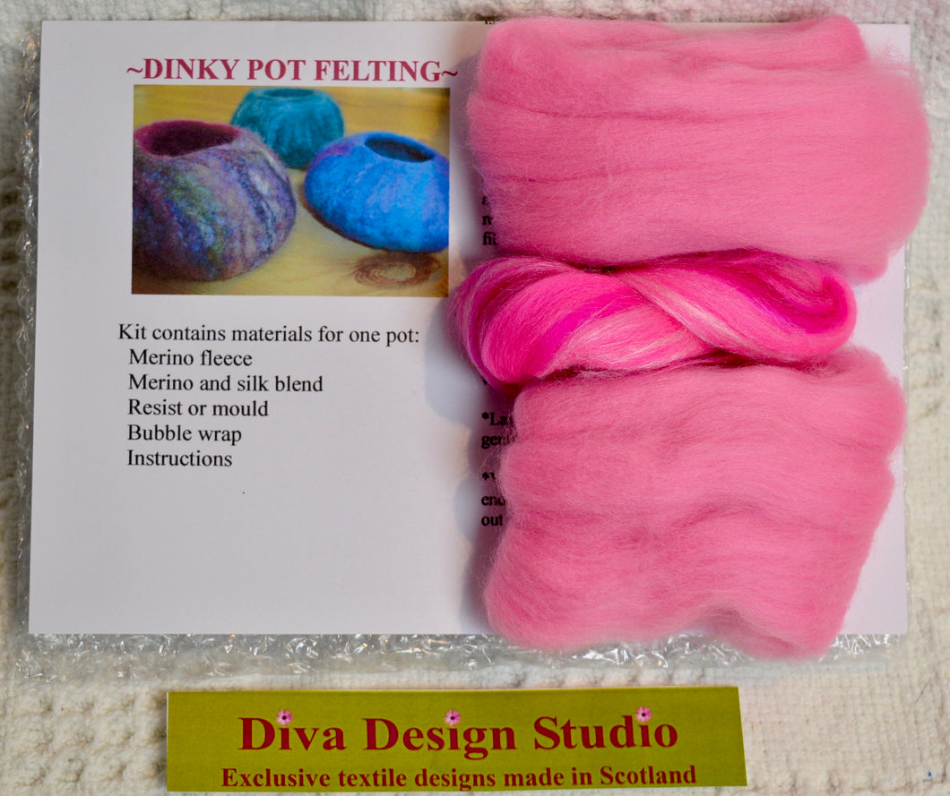 Dinky Pot felting kit by Diva Design. Pink. (39PP)