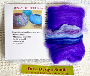 Dinky Pot felting kit by Diva Design. Purple. (39PV)