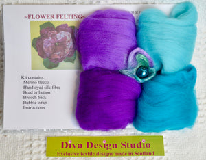 Flower felting kit by Diva Design. Teal/purples. 1 kg (39FT)