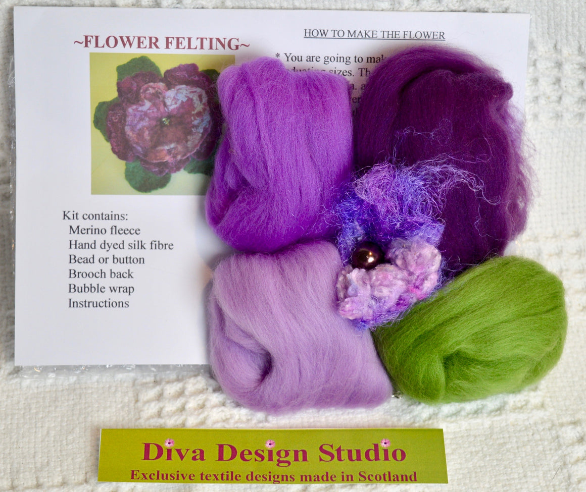 Flower felting kit by Diva Design. Lilacs. 1 kg (39FL)
