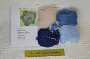 Flower felting kit by Diva Design. Blues. 1 kg (39FB)